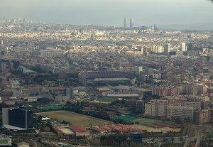 view of Les Corts and Camp Nou