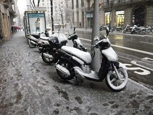 snow on scooters barcelona
