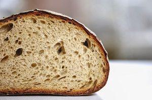 half a bread on table