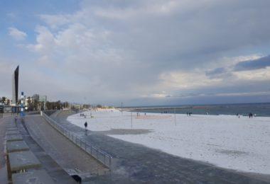 snow on beach barcelona