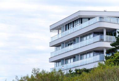 white, modern apartment building