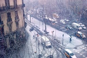 snow on streets and buildings barcelona