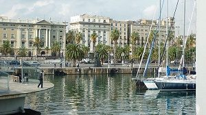 harbour with boat and buildings in barcelona