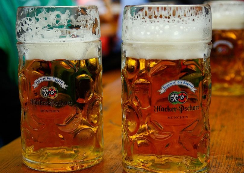 two large beers at oktoberfest