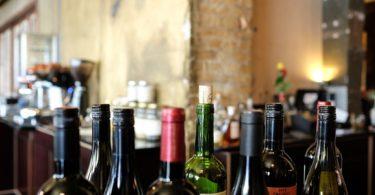 wine bottles on bar