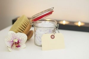 body brush, orchid and body scrub
