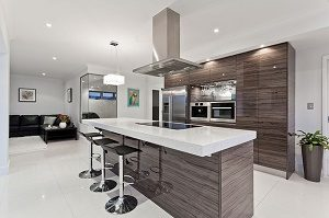 modern kitchen in white and brown