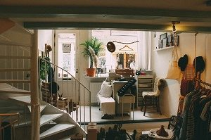 small and cosy room with stairs to next floor
