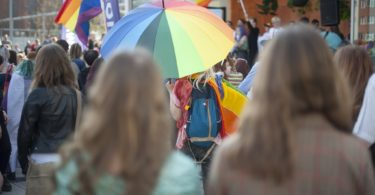umbrella in rainbow colours