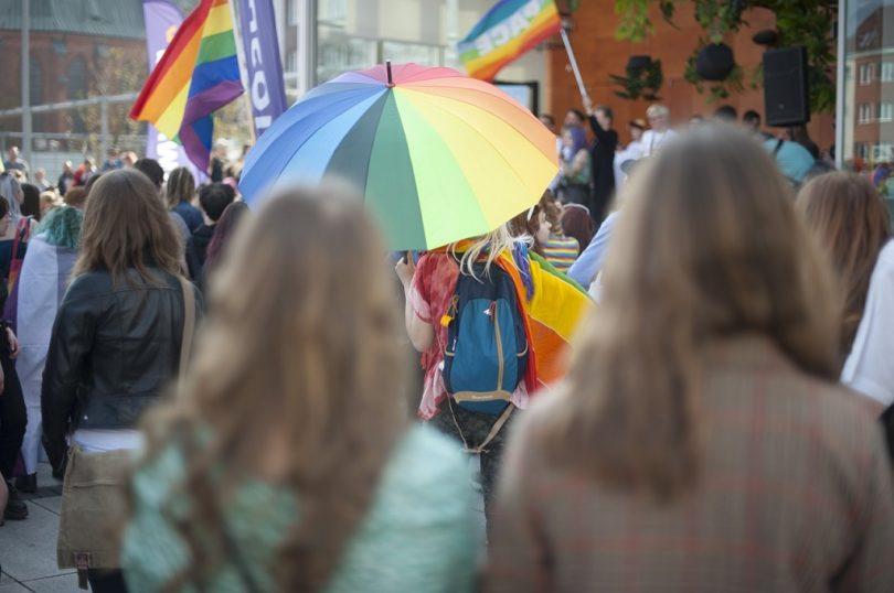 umbrella in rainbow colours