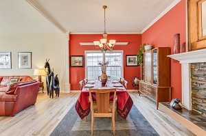 dining area with lots of red colours