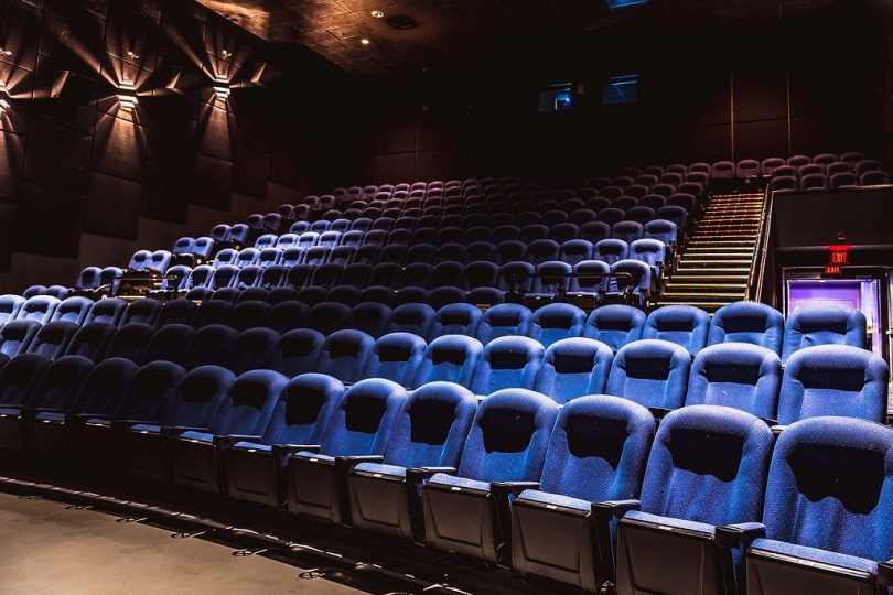 blue chairs in cinema