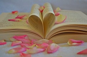 heart shaped book with rose petals