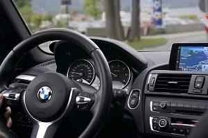 steering wheel and dashboard inside car