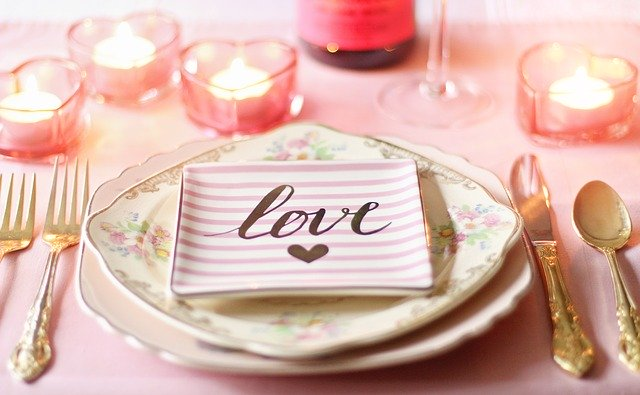 "romantic table with ""love"" plate"