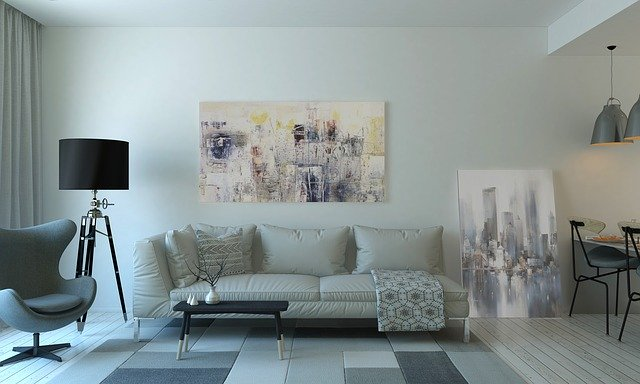 living room with modern painting