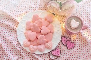 plate with pink cookies