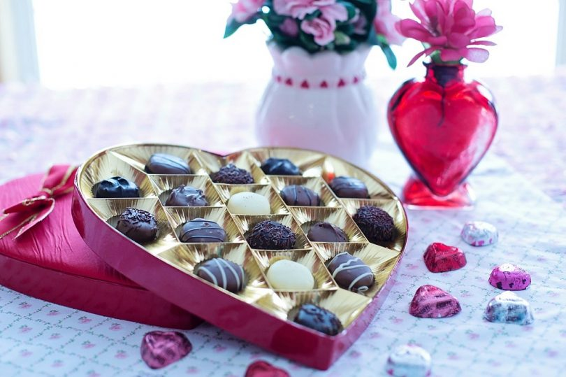heart shaped box of chocolates