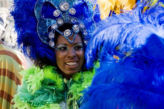 carnival lady in blue and green