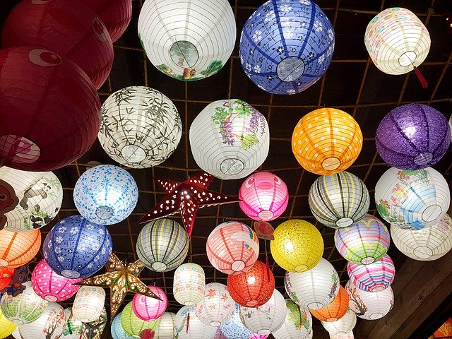 colourful lanterns in the street