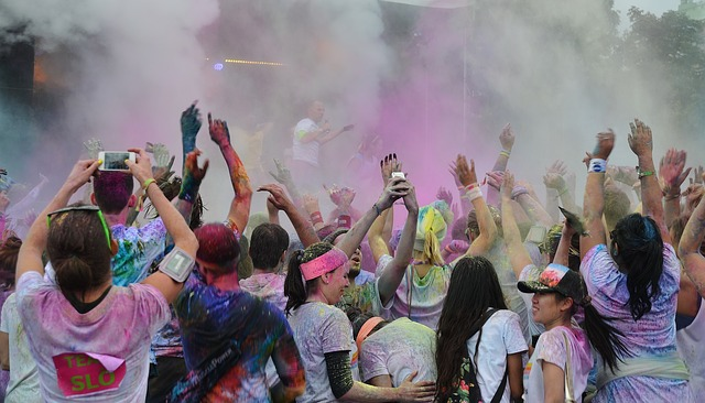 group covered in coloured powder