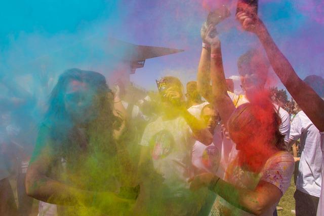 coloured powder thrown in the air