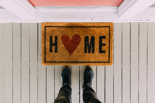 Doormat with HOME on it
