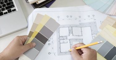 new interior plan with paint samples