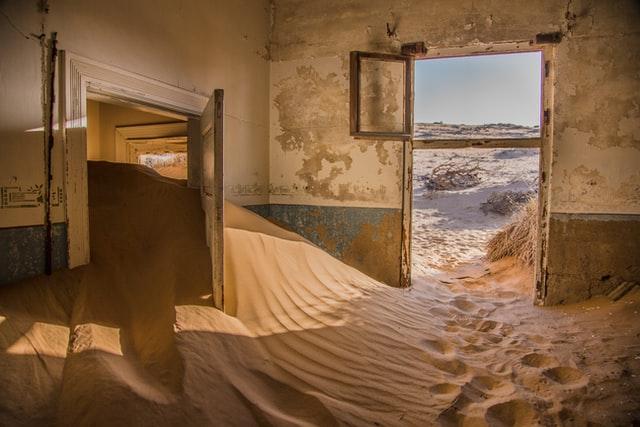 sand inside the house