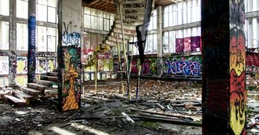graffiti inside building - prevent squatters