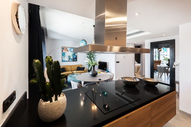 kitchen with black counter - affordable rental accommodation in barcelona