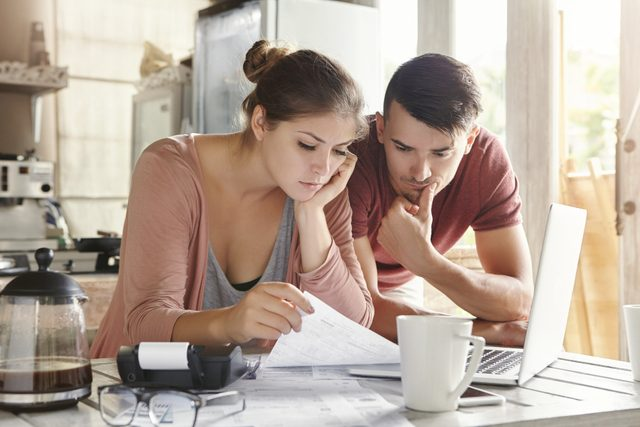 couple looking at energy bill