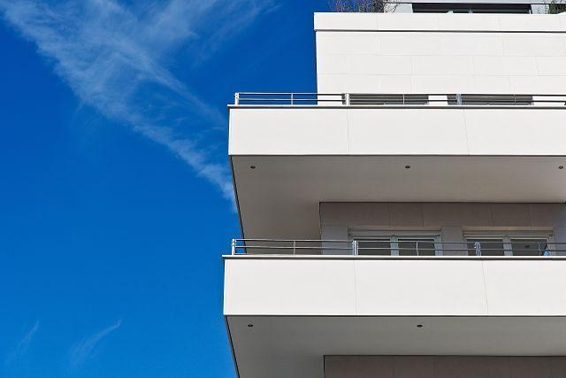 balconies and blue skies