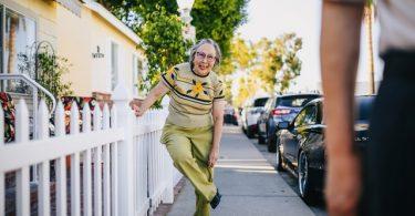 grandma on sidewalk