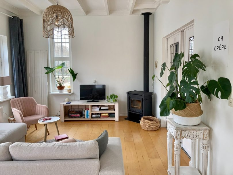 living room with wooden accents